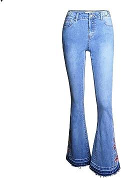 Sijux Pantalones Anchos De Pierna Ancha Bordados De Tiro Alto Para Mujeres De Denim Pantalones De Campana Vaqueros Amazon Es Deportes Y Aire Libre