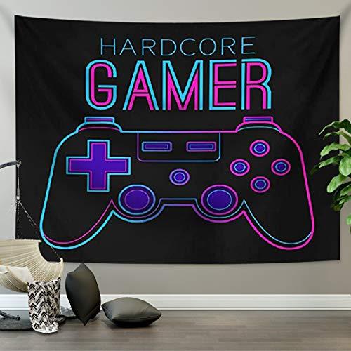Tapiz del Tema del Juego Moderno Game Gamepad Hombre Niño Hippie Divertido Tapiz Colgante de Pared Dormitorio la Universidad Dormitorio Fondo de TV Mantel Decoración del Hogar (Vistoso 3,150 x 200cm)