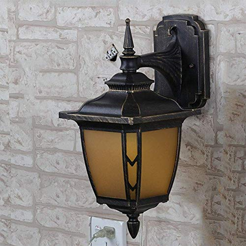 YINUO lamparas de mesa Lampara de pared aplique de la luz del soporte de la lampara de pared al aire libre de la antiguedad de luces de aluminio impermeable de cristal antiguo Lamphade Luz Negro de or