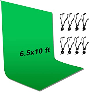YICOE 6.5 x 10 ft Green Screen Backdrop Wrinkle-Resistant Backdrop with 8 Backdrop Clip, Polyester Fabric Collapsible Chro...