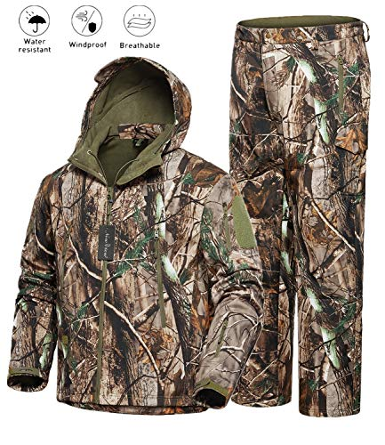 NEW VIEW 2020 Upgrade Hunting Clothes for Men,Silent Water Resistant Hunting Suits,Camo Hunting Camouflage Hooded Jacket,Hunting Pants (XXXL, Camo Leaf)