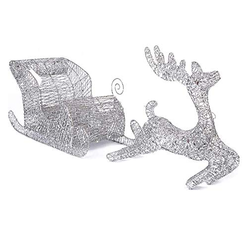 Lit Indoor Outdoor Light Up LED Reindeer with Sleigh Warm White Iron Frame Christmas Lights Decorations,60cm Outdoor (Color : Silver)