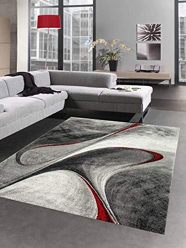 CARPETIA Tapis de Salon Moderne Tapis Abstrait en Gris Rouge Größe 160x230 cm