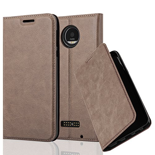 Cadorabo Hülle für Motorola Moto Z Play - Hülle in Kaffee BRAUN – Handyhülle mit Magnetverschluss, Standfunktion und Kartenfach - Case Cover Schutzhülle Etui Tasche Book Klapp Style