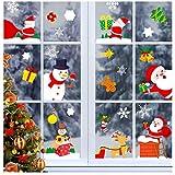 Chilee-any 300+PCS Stickers Fenetre Noel, Noël Flocons De Neige Stickers, Noël Autocollant Fenêtre, Fenetre Décoration-Renne Père Noël Stickers Amovibles Statique Autocollants