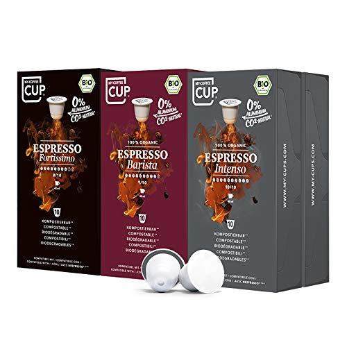 My-CoffeeCup – ESPRESSO-TRIO-BOX 60 KAPSELN BIO-KAFFEE I Kaffeekapseln für Nespresso®*-Kapselmaschinen I 100% industriell kompostierbare Kaffeekapseln – 0% Alu I Nachhaltige Kaffeekapseln
