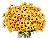 LSKYTOP 8 Bunches Artificial Sunflower Bouquet,Small Sunflower Bunches Silk Sunflowers Fake Yellow Flowers for Home Desktop Wedding Decor