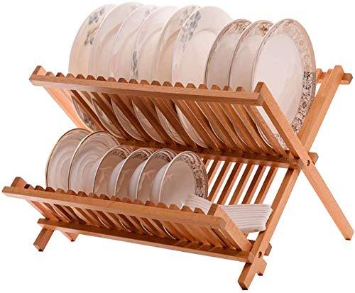 Stijlvol en eenvoudig huis keuken plank rek houten lade opslag rack dubbele laag wastafel rack (38,5 * 36 * 27Cm), C-F