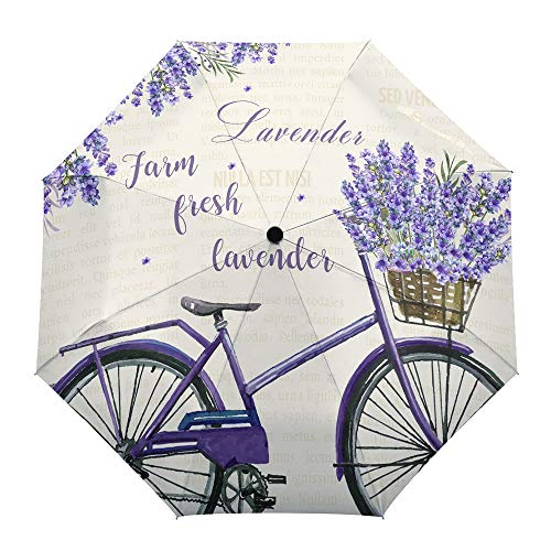 Automatic Open Close Waterproof Foldable Umbrella with Sun Protection, Farm Fresh Lavender Purple Bicycle Carrying Lavender Umbrella Windproof, Compact Folding for Man Women and Child