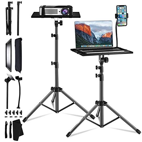 SanLead Projector Stand,Projector Tripod,Projector Stand Adjustable for Laptops,Projectors,Adjustable Height from 45cm to 120cm,Comes with an Elastic Band,Sponge Pad to Protect Your Equipment