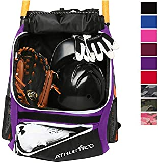 Athletico Baseball Bat Bag - Backpack for Baseball T-Ball & Softball Equipment & Gear for Kids Youth and Adults | Holds Bat Helmet Glove Shoes |Shoe Compartment & Fence Hook (Purple) [並行輸入品]