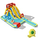 BOUNTECH Inflatable Water Slide, 7 in 1 Double Long Slide Bouncer Park w/Climbing Wall (with 950W Air Blower)