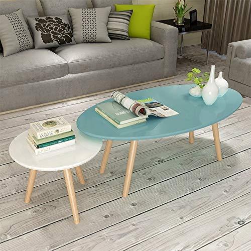 NA Nordic hout geschilderde theetafel, kleine ovale salontafel, eenvoudige moderne woonkamer eenvoudige houten kleine ronde bijzettafel