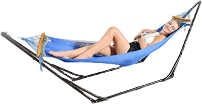 HIZQ Hammock with Stand, 2 Person Canvas Hammock,Up to 150 KG Portable Hammock with with Carrying Bag Tree Straps & Ropes,Perfect for Camping Outdoor Indoor Patio Backyard