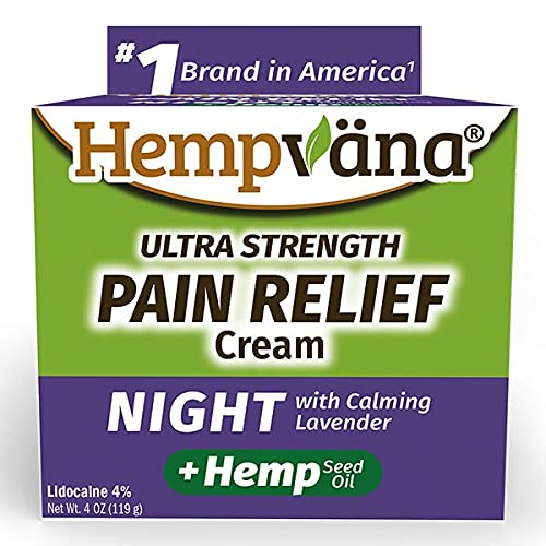 Hempvana As Seen On TV Night Pain Relief Cream with Calming Lavender, Ultra-Strength Formula Works Fast to Alleviate Aches, Gets You Back to Sleep, Non-Greasy, 4oz jar, 4 Oz