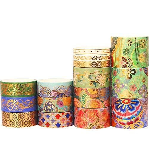 YUBX Oro 15 rollos Washi Tape Set cinta adhesiva decorativa Washi Glitter Adhesivo de Cinta Decorativa para DIY Crafts Scrapbooking (Splendid Embroidery)
