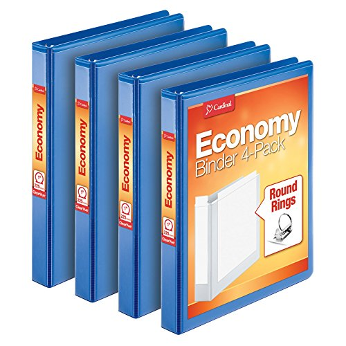 Cardinal Economy 3 Ring Binder, 1 Inch, Presentation View, Blue, Holds 225 Sheets, Nonstick, PVC Free, 4 Pack of Binders (79511)