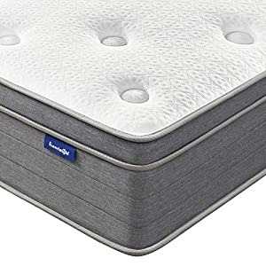 Queen Mattress, Sweetnight 12 Inch Plush Pillow Top Queen Size Mattress-Individually Pocket Spring Hybrid Mattress with Cooling Gel Memory Foam for Motion Isolation & Cooler Sleep, Island