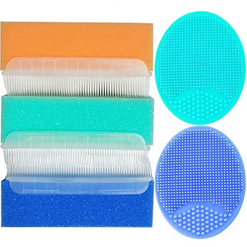 Baby Bath Brush, Cradle Cap Brush, Baby Bath Sponge Brush, Soft Sensory Scrubber with Cradle Cap Bristle Brush, Baby Care Essential for Dry Skin, Cradle Cap (Blue&Green&Orange)
