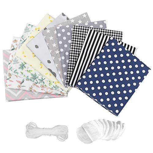 king do way 10PCS Kit Tessuti in Cotone per Protezione Viso, Diversi Colori, 10 Batuffolo di Cotone di Ricambio e Elastico 5M, 30 x 50 cm di Cotone