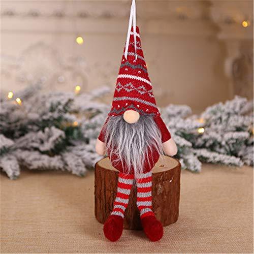 AQZMEA Weihnachtsdekorationen Kreative Sitzen Wald Puppe Puppe Weihnachtsbaum Anhänger Mini Puppe Anhänger Abgebildet Förster langbeinige Puppe Anhänger (dunkelrot)