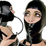 Sexy Latex Mask Rubber Unisex Hood with Mouth Respirator Unique Wear for Sex Club (M) Black