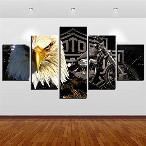JINGSHENG 5 Paneles de Lienzo Moderno águila Obra de Arte Motocicleta decoración Modular impresión HD Pintura Decorativa(con Frontera Size1)