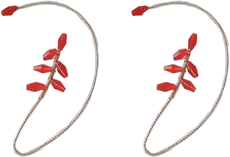 KONGLYLE 1Pair Vintage Ear Cuff Earrings Elegant Pearl Wrap Crawler Hook Earring Non Piercing Jewelry for Women Girls - Fantasy Fairy Halloween Costume, Cosplay, Wedding, Handcraft
