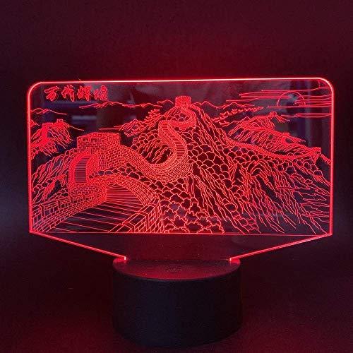 Luz De Ilusión 3D Luz De Noche Led Lámpara De Mesa De Color De Pared Grande Con Control Remoto Táctil UsbRegalo DeCumpleañosPara Niños