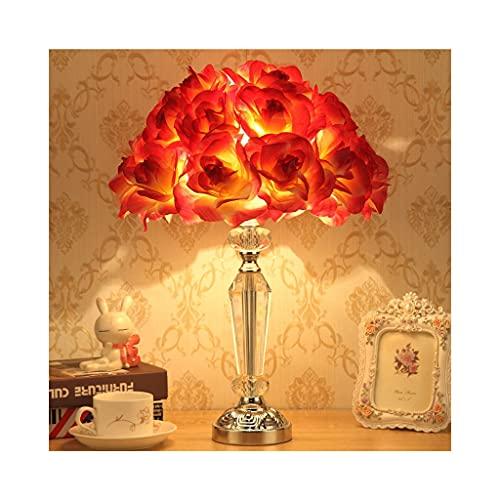 Lámpara de mesa de mesa de flor romántica Lámparas con ramo de rosas Lámpara, Moderna Lámpara de escritorio de la cama de la cama Novela Design Nightstand Lámparas Lámparas de mesa de cristal para dor