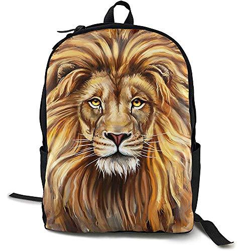 Kimi-Shop Mochila Escolar Lion Head .PNG Mochila Deportiva para Adultos al Aire Libre 3D para Adultos