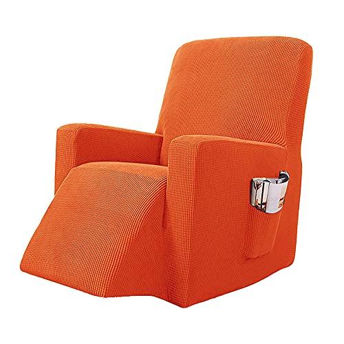 Torlia 1 Piezas Jacquard Funda de sillón, ,Funda Sillón Relax,Tela Suave Resistant Couch Cover,Sillón con Bolsillo Lateral Cubierta Protector para Sillón-Naranja