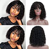 Fabc Short Curly Bob Wigs With Bangs, Non Lace Front Wigs Brazilian Virgin Human Hair Kinky Curly Wigs Machine Made Wigs for Black Women, Natural Black Color, 16 Inch (16 Inch, Natural Color) …