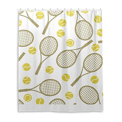 Ghypt Cortina de ducha de poliéster para deportes de baño, raqueta de tenis, impermeable, extralarga, resistente, lavable, para casa