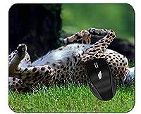 ステッチされた端が付いているオフィスのマウスパッドの動物のチーターのかわいいマウスパッド