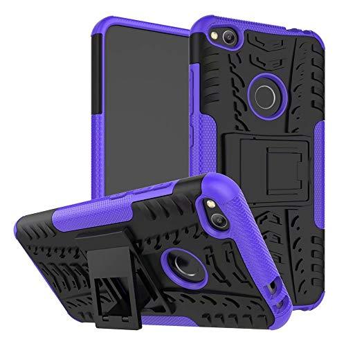 Jtailhne Compatible con Funda Huawei P8 Lite 2017, RíGida Tire Pattern Doble Capa HíBrida Armor Kickstand a Prueba De Choques Carcasa PúRpura & 2X Cristal Templados