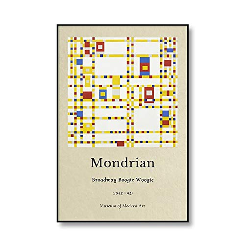 Peter Mondrian, mundialmente famoso, gris árbol, exposición, cartel, impresión, arte de pared, imagen familiar, lienzo sin marco, pintura D 70x100cm