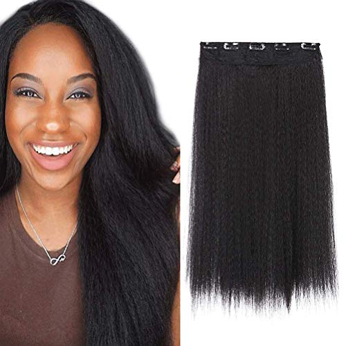 DOCUTE African American Yaki Clip In Hair Extensions One Pieces For Black Women, 20inch Thick Yaki kinky straight Hair Pieces 1 Pack With 5 Clips Black Kinky Curly Hairpieces (Straight Hair, YAKI -1B)