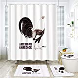SINOVAL Shower Curtain Sets Non-Slip Rug,Toilet Lid Cover and Bath Mat,Gamecock Sepia,Waterproof Bathroom Bath Curtains 12 Hooks Included