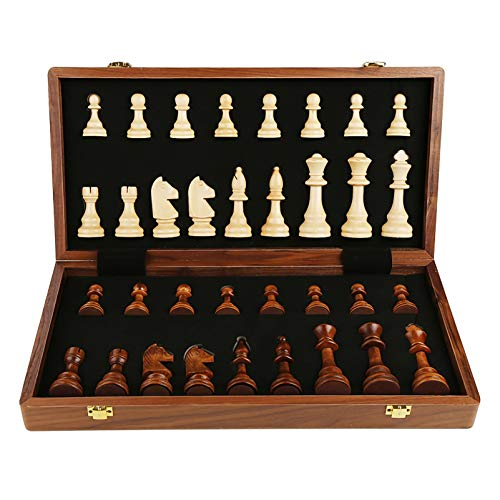 WWJ Juego de ajedrez Internacional de Madera, Tablero de ajedrez de Almacenamiento Plegable, magnetismo Fuerte, Material de Madera de Nogal, Hecho a Mano (34 Piezas)