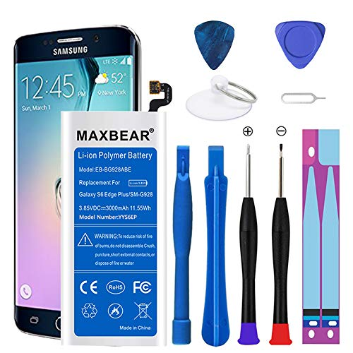 Galaxy S6 Edge Plus Battery,MAXBEAR 3000mAh Li-Polymer Built-in Battery EB-BG928ABE Replacement for Samsung Galaxy S6 Edge Plus SM-G928 G928A G928T G928P G928V with Repair Replacement Kit Tools.