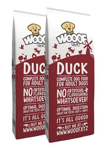 WOOOF Ente 36kg kaltgepresstes Hundefutter | Purinarmes Trockenfutter, leicht verdaulich, ohne Weizengluten, für empfindliche Hunde