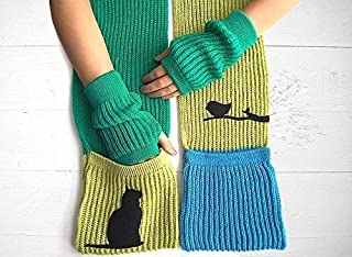 Winter Accessories with Cat, Hand Warmers & Scarf with Cat, Scarf & Gloves Set