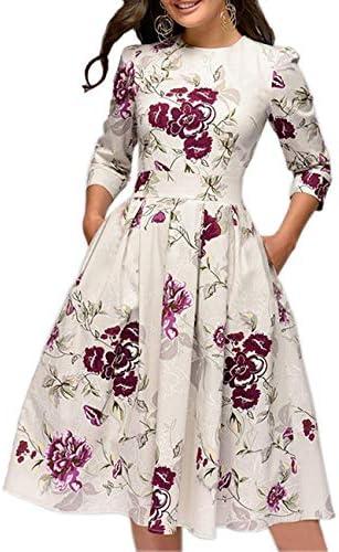 Simple Flavor Women s Floral Vintage Dress Elegant Autumn Midi Evening Dress 3 4 Sleeves Beige product image