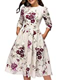 Simple Flavor Women's Floral Vintage Dress Elegant Autumn Midi Evening Dress 3/4 Sleeves (Beige, M)