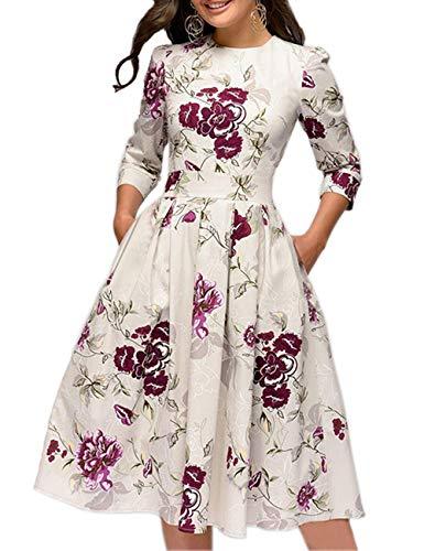 Simple Flavor Women's Floral Vintage Dress Elegant Autumn Midi Evening Dress 3/4 Sleeves (Beige, XXL)