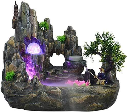 NHY Mini Mesa de Escritorio Cubierta Fuente de Piedra de Piedra Fuente de Agua Fuente de la Mesa de Agua, Bomba de Buceo para la decoración de la Tienda de Oficina en casa,Big
