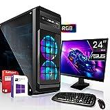 AMD Ryzen 3 3200G 4x4.0GHz Komplett PC-Paket Set mit 24 TFT - Monitor/Tastatur Maus   16GB DDR4  256GB M2 SSD und 1TB Festplatte   Win10   WLAN   Gamer pc Computer komplettpaket Rechner Leise