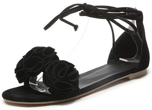 Sandales d'été synthétiques pour Femmes à Talon Plat, Bout Ouvert, Couture en Dentelle, Orange Jaune Rose