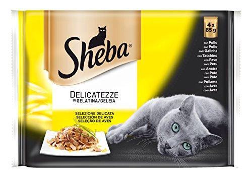 Sheba Delicatezze Multipack Bolsitas de Comida Húmeda para Gatos Selección de Aves en Gelatina, 4 x 85g 🔥